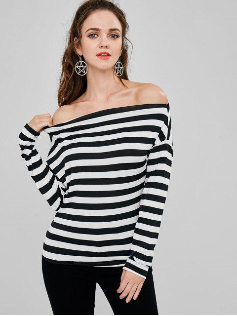 ladies Off The Shoulder Striped T-shirt - MULTI XL Mobile