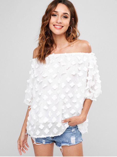 Blume Applique Schulterfrei Bluse - Weiß Eine Größe Mobile