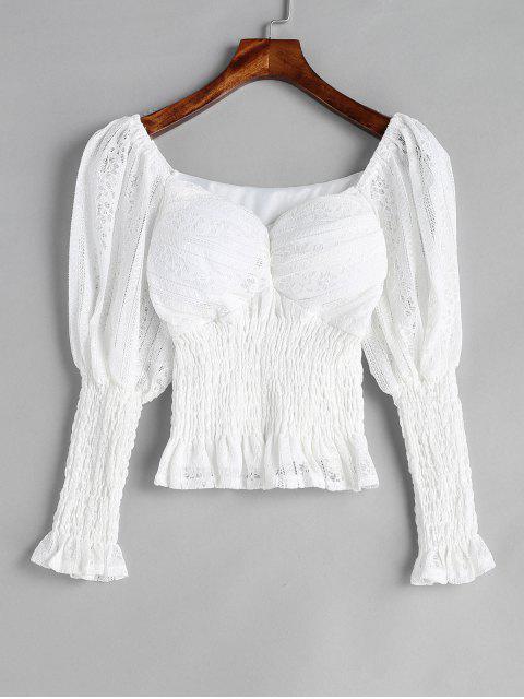 Spitze Sweetheart Neck Bluse - Weiß Eine Größe Mobile