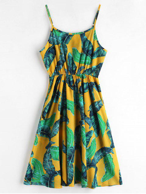 women ZAFUL Palm Leaves A Line Cami Dress - BRIGHT YELLOW L Mobile