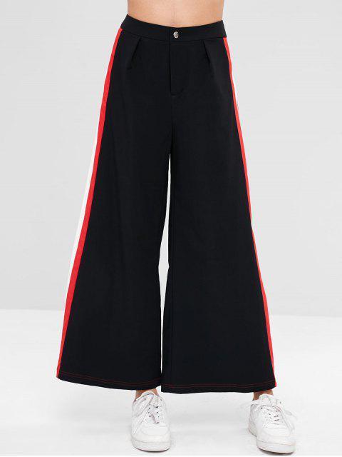 lady ZAFUL Wide Leg Contrast Side Culotte Pants - BLACK XL Mobile