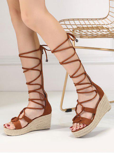 ladies ZAFUL Strappy Gladiator Mid Calf Espadrille Sandals - BROWN 37 Mobile