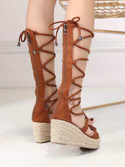 hot ZAFUL Strappy Gladiator Mid Calf Espadrille Sandals - BROWN 38 Mobile