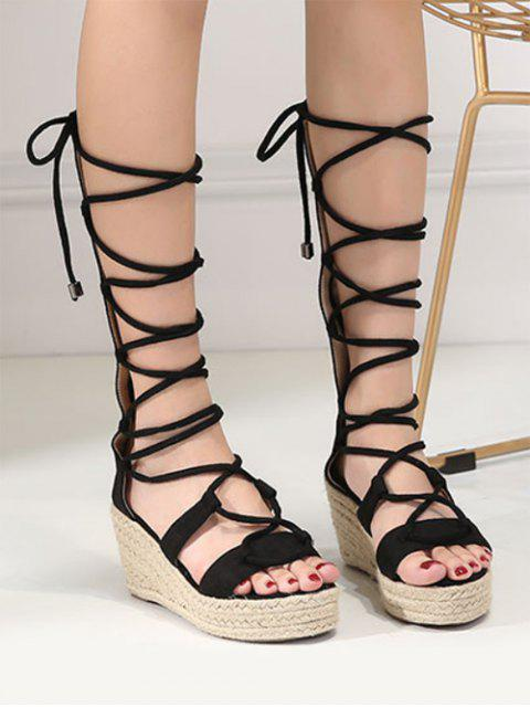 outfits ZAFUL Strappy Gladiator Mid Calf Espadrille Sandals - BLACK 38 Mobile