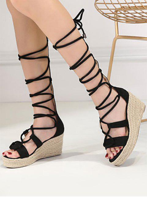 shops ZAFUL Strappy Gladiator Mid Calf Espadrille Sandals - BLACK 39 Mobile