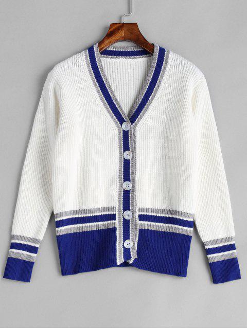 Button Up Cricket Strickjacke - Weiß Eine Größe Mobile
