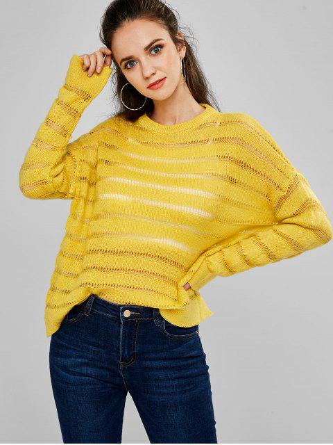 Suéter de hombro de punto abierto gota - Amarillo Brillante Talla única Mobile