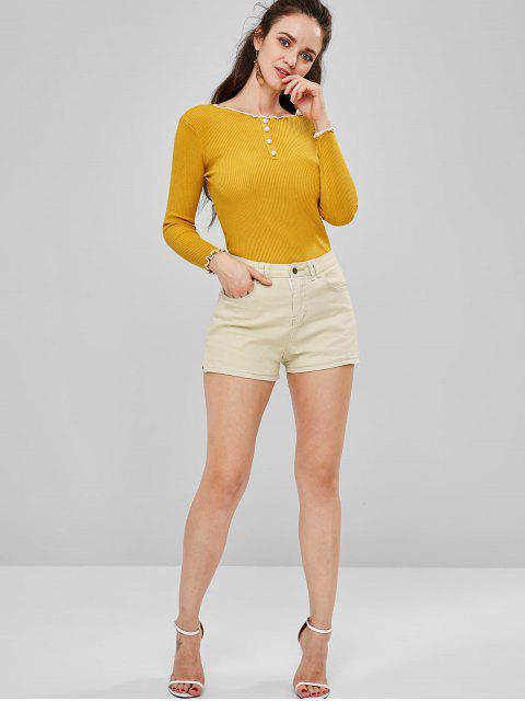 Short à Taille Mi-Haute avec Zip - Kaki Clair L Mobile
