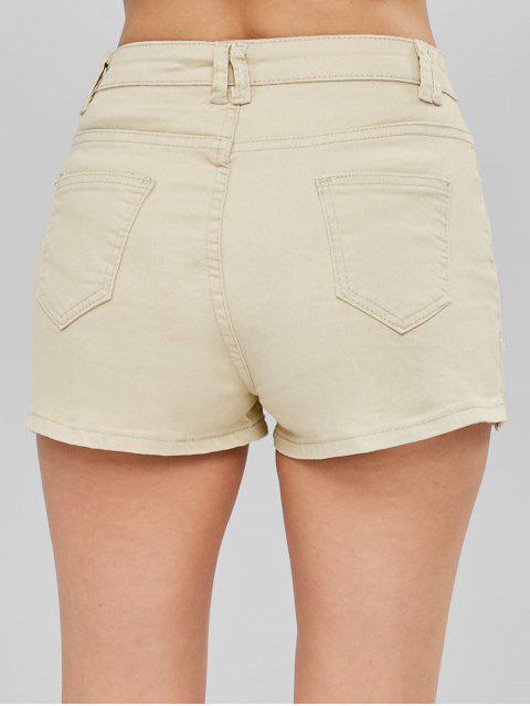 Short à Taille Mi-Haute avec Zip - Kaki Léger M Mobile
