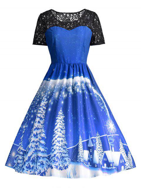 Vestido de fiesta de la vendimia del panel de encaje estampado - Azul 2XL Mobile