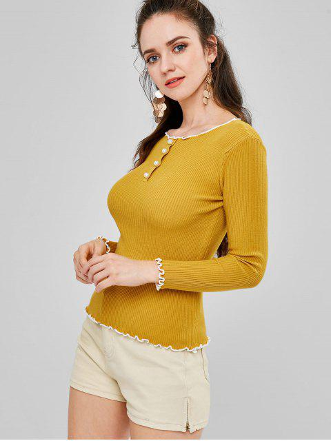 affordable Lettuce Trim Ribbed Sweater - YELLOW ONE SIZE Mobile