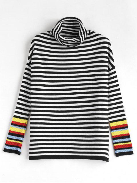 Jersey de rayas de cuello alto - Multicolor Talla única Mobile