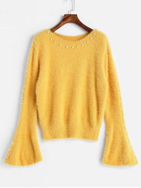 Suéter de abalorios manga flare - Amarillo Talla única Mobile