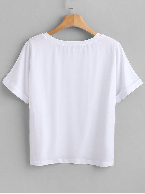 women ZAFUL Slit Step Hem Graphic T-Shirt - WHITE M Mobile
