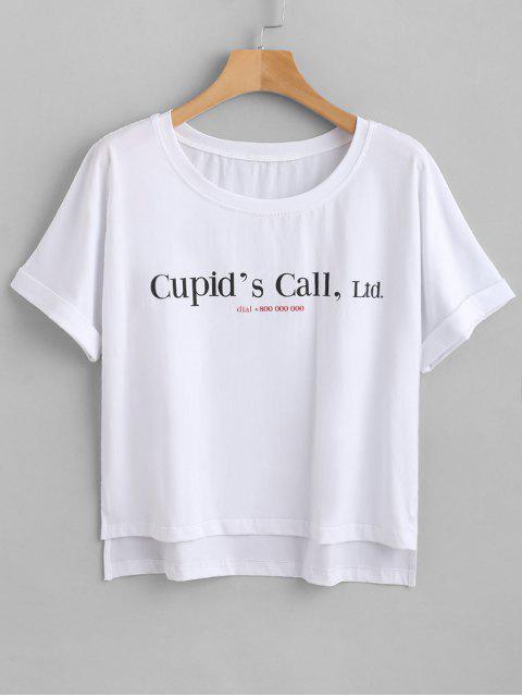 ZAFUL - T-shirt graphique à ourlet fendu - Blanc L Mobile