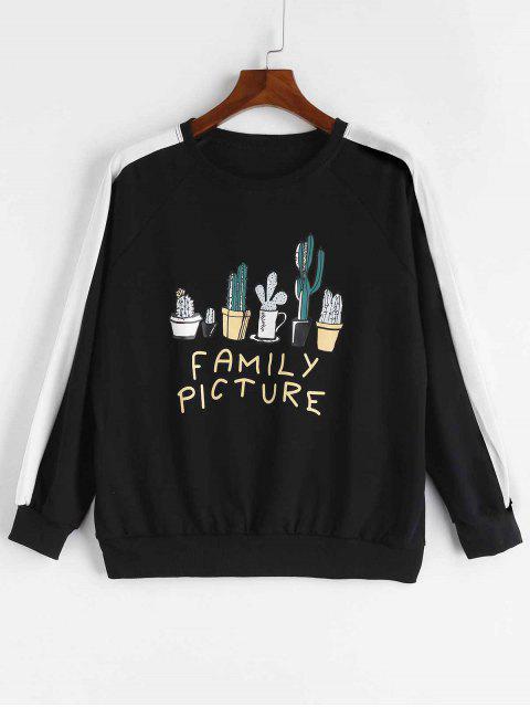 Familienbild-Kaktus-Sweatshirt - Schwarz Eine Größe Mobile