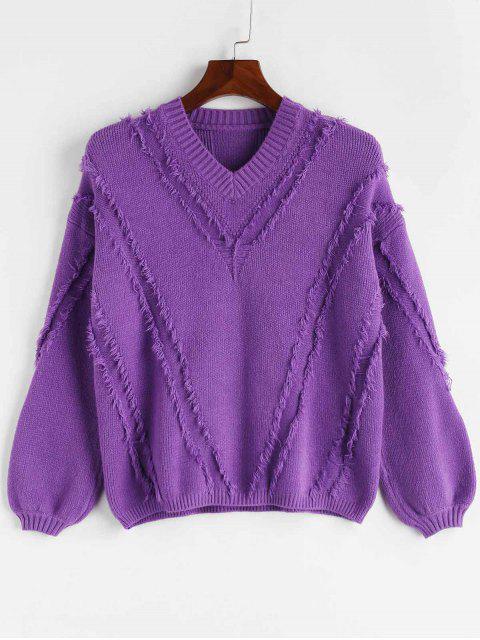 Suéter con cuello en V y panel acanalado - Narciso Morado Talla única Mobile