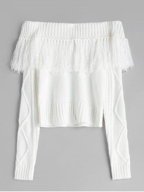 Suéter de punto de cable borlas de hombro - Blanco L Mobile