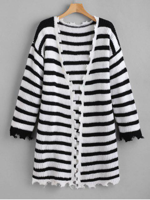 new ZAFUL Jagged Edge Striped Open Front Cardigan - MULTI ONE SIZE Mobile