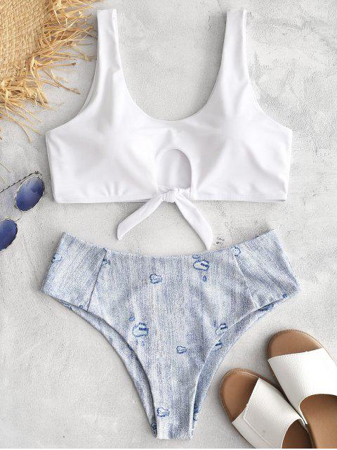 unique ZAFUL Knot Print High Leg Bikini - WHITE L Mobile
