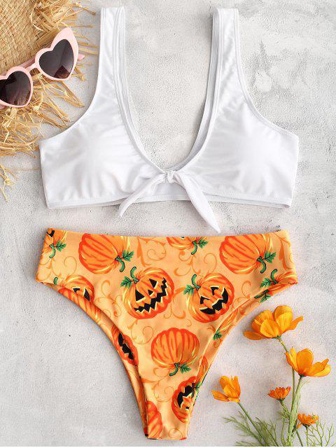 buy ZAFUL Pumpkin Print Front Knot Bikini Set - DARK ORANGE M Mobile