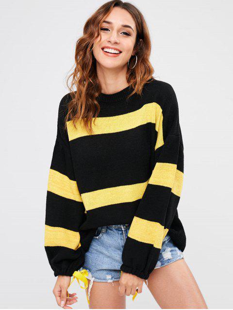 Suéter suelto de dos tonos - Negro Talla única Mobile