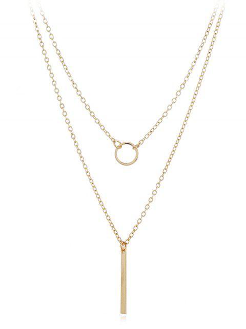 Geometrische Form Layer Anhänger Halskette - Gold  Mobile