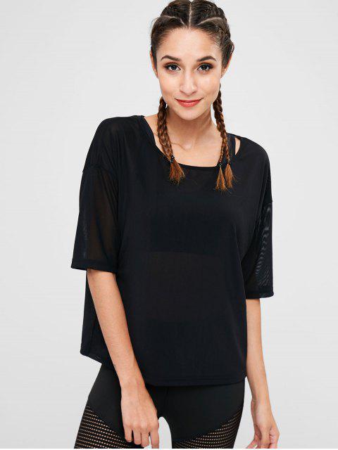 online Drop Shoulder See Through T-shirt - BLACK M Mobile