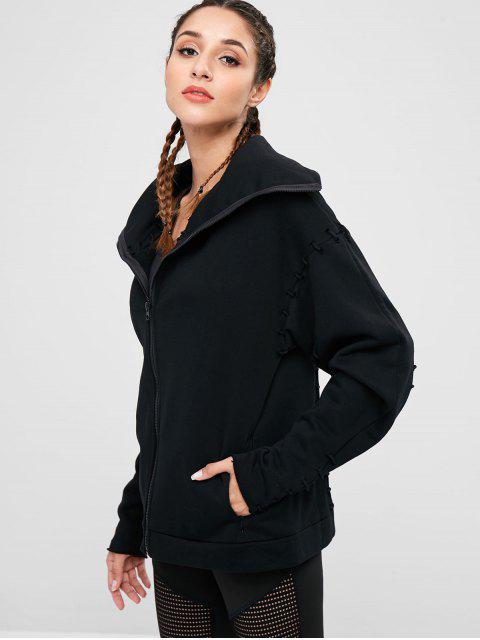 Drop Shoulder Lace Up Jacket - Negro S Mobile