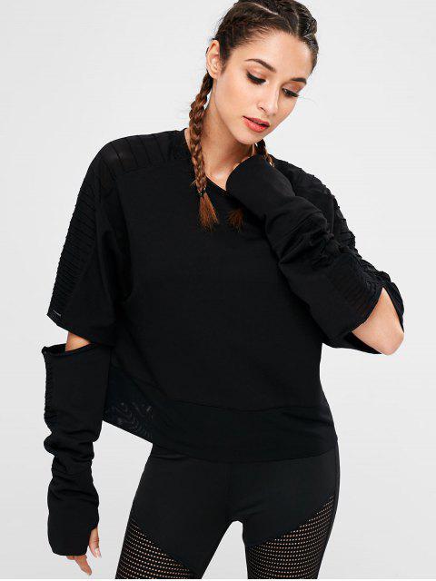 Sweat-shirt à découpes - Noir S Mobile