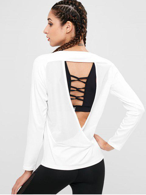 Cut-Out-Mesh-Panel-Gymnastik-Tee - Weiß L Mobile