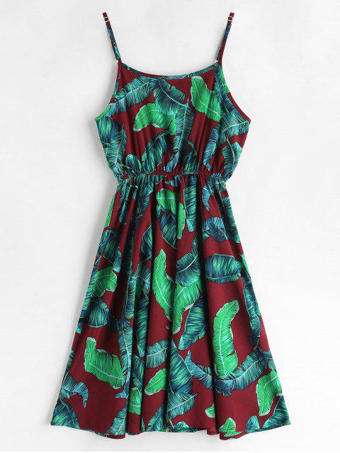 lady ZAFUL Palm Leaves A Line Cami Dress - RED WINE L Mobile