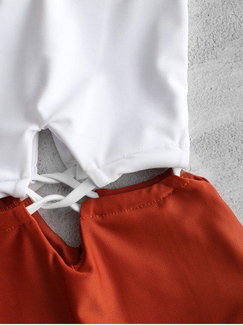 Bañador de un hombro con cordones ZAFUL - Blanco M Mobile