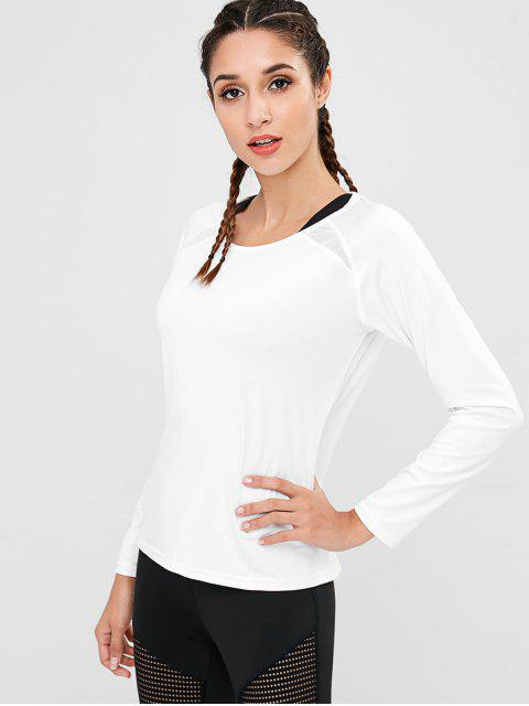 chic Cut Out Mesh Panel Gym Tee - WHITE M Mobile