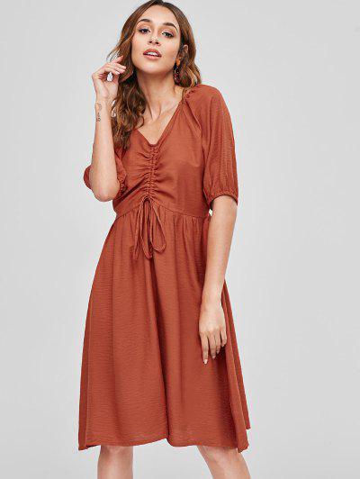 2de2e55b94a ... Drawstring A Line Casual Dress - Chestnut Red M