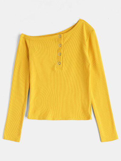 b4bb7921 Long Sleeve Asymmetrical Ribbed T-Shirt - Yellow M ...