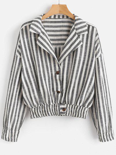 Striped Drop Shoulder Cropped Blouse - Multi L