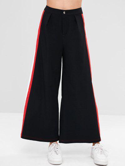 4c094efd5588 ZAFUL Wide Leg Contrast Side Culotte Pants - Black S