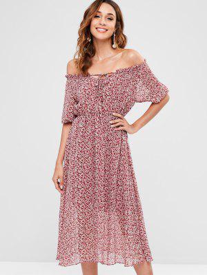 a16470588917b9 Off Shoulder Tiny Floral Dress - Red Wine M ...
