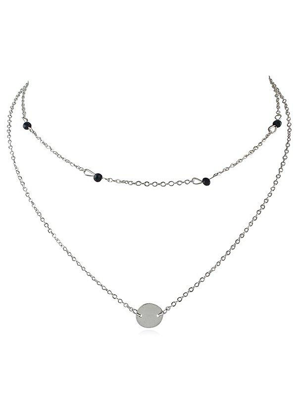 Layered Disc Pendant Choker Necklace