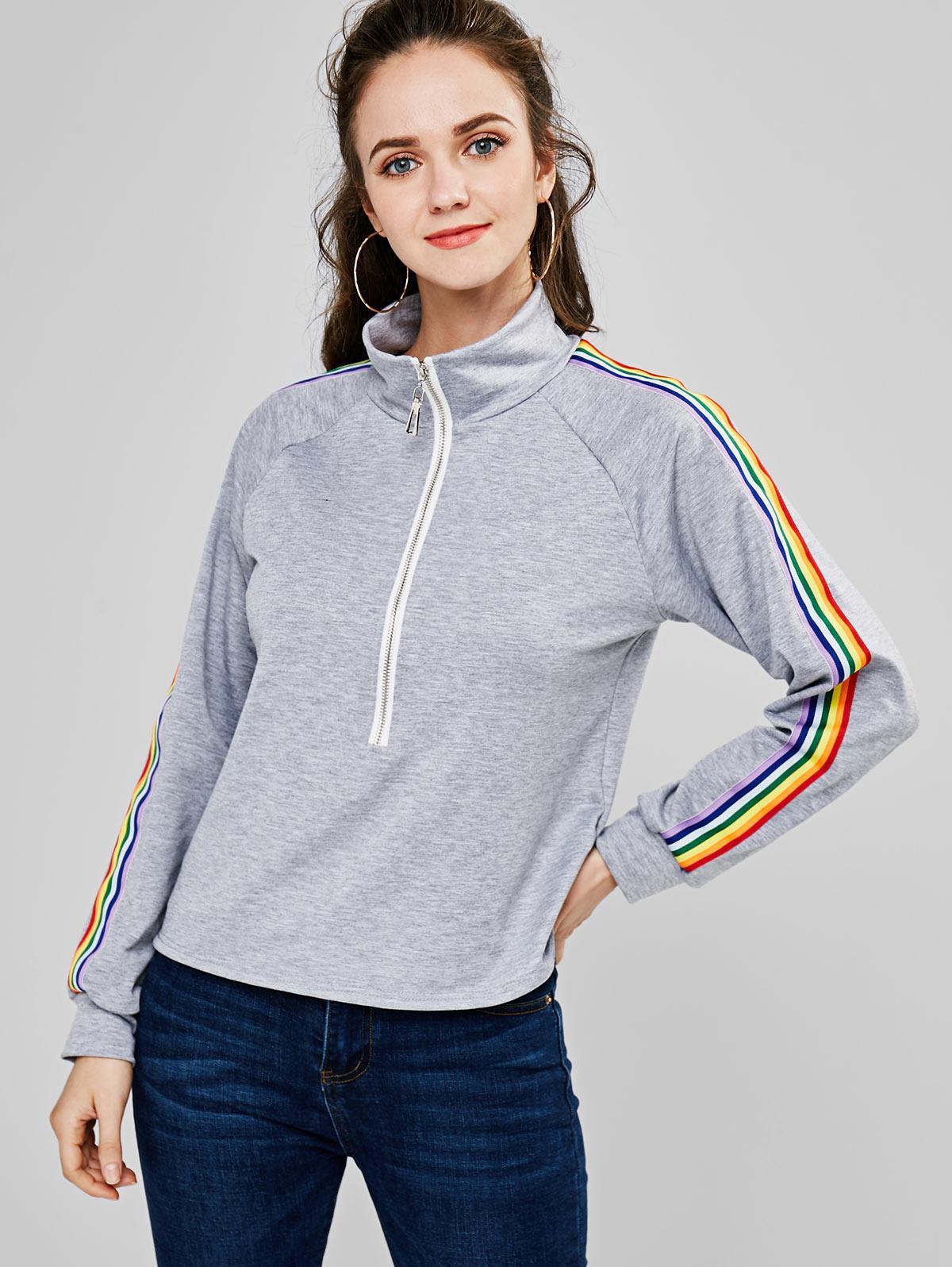 ZAFUL Half Zip Rainbow Striped Sweatshirt