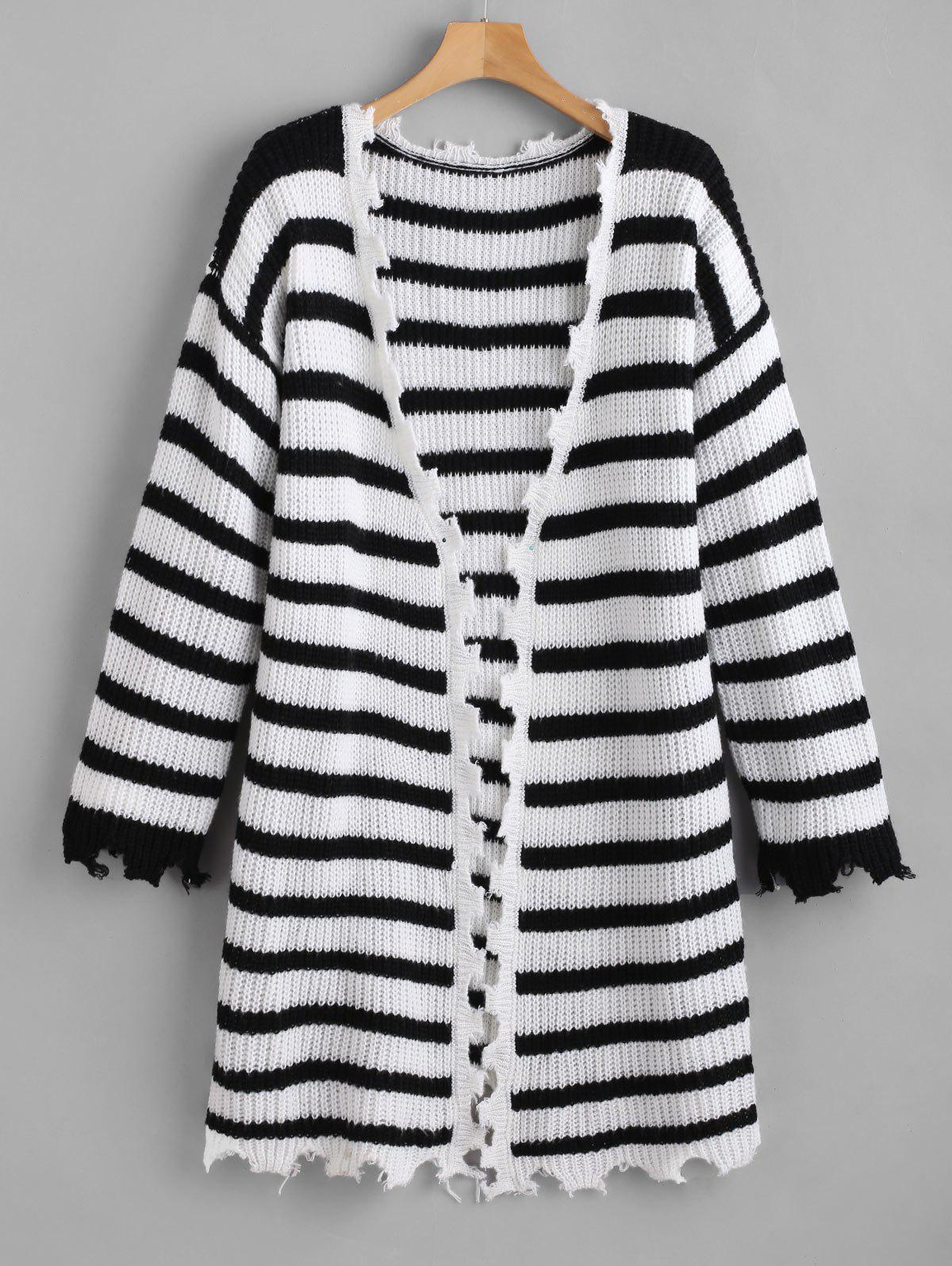 ZAFUL Jagged Edge Striped Open Front Cardigan