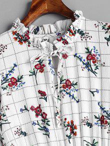 Grid Floral Blanco L Ruffles Vestido rFxTrX
