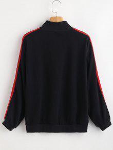 Sweatshirt Stripe Pullover Side Zipped Negro 6tz6w