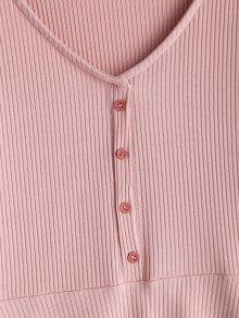 Acanalado Botones Acampanado L Vestido Rosado 8CCWAn