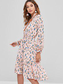 13b1e205bd2a 45% OFF  2019 Ruffled Floral Long Sleeve Dress In LIGHT PINK