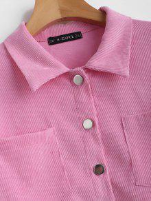 ZAFUL Camisa Rosado Pana S Bolsillo Recortada De De 66xBr7