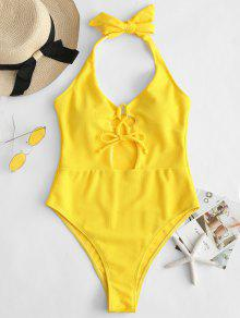 ZAFUL الدانتيل متابعة السامية قطع عارية الذراعين ملابس السباحة - المطاط الحبيب الأصفر L