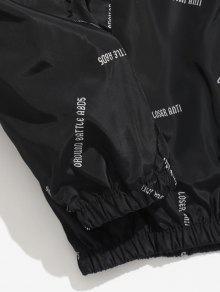 Con Impermeable Con Letras Xs Estampado Capucha Negro Chaqueta De 1BqnzBx