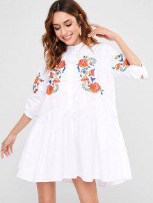 زر حتى فستان مطرز صغير - أبيض M